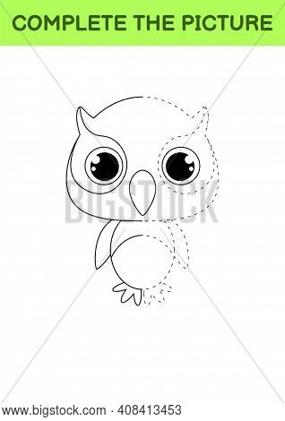 Complete Drawn Picture Of Cute Owl. Coloring Book. Dot Copy Game. Handwriting Practice, Drawing Skil
