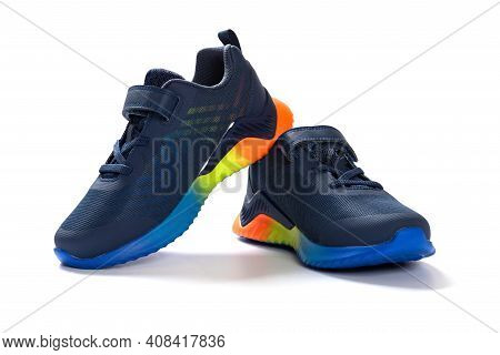 Pair Of Blue Sporty Shoes For Kid On White Background