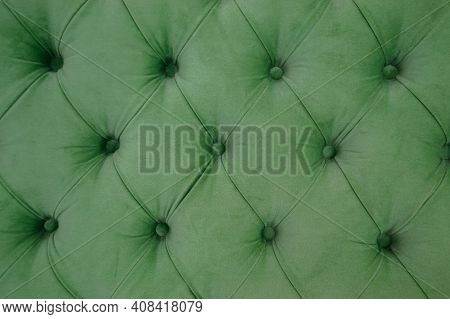 Emerald Luxury Velour Quilted Sofa Upholstery With Buttons, Elegant Green Home Decor Texture And Bac