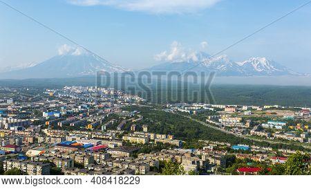View Of The City Petropavlovsk-kamchatsky On Background Of Avachinsky, Koryaksky And Kozelsky Volcan