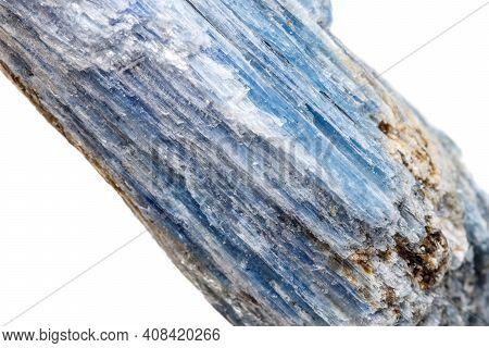 Macro Mineral Stone Kyanite A White Background