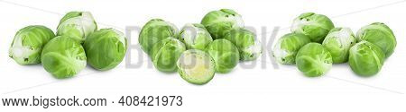 Brussels Sprouts And Half Isolated On White Background With Clipping Path And Full Depth Of Field. S