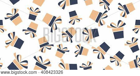 Seamless Pattern With Orange And Gray Gift Boxes Isolated On White Background. Vector Illustration