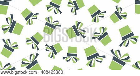 Seamless Pattern With Green And Gray Gift Boxes Isolated On White Background. Vector Illustration