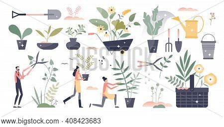 Gardening Set As Summer Botany Plant Care Work Elements Tiny Person Concept