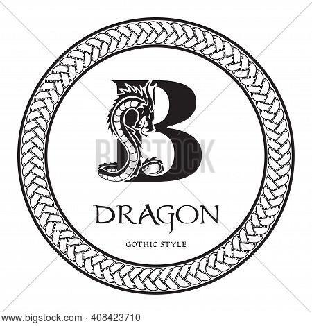 Dragon Silhouette Inside Capital Letter B. Elegant Gothic Dragon Logo With Tattoo Element. Heraldic