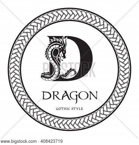Dragon Silhouette Inside Capital Letter D. Elegant Gothic Dragon Logo With Tattoo Element. Heraldic
