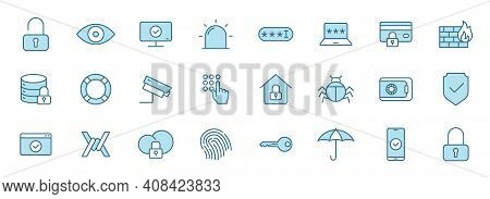 Security Linear Vector Icons In Two Colors Isolated On White Background. Security Blue Icon Set For