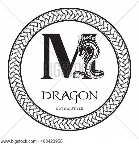 Dragon Silhouette Inside Capital Letter M. Elegant Gothic Dragon Logo With Tattoo Element. Heraldic