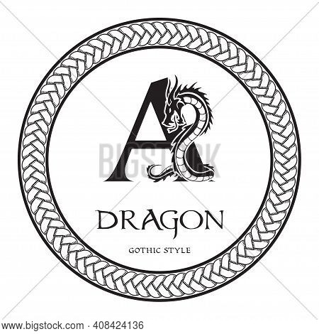 Dragon Silhouette Inside Capital Letter A. Elegant Gothic Dragon Logo With Tattoo Element. Heraldic