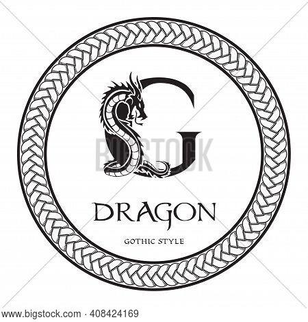 Dragon Silhouette Inside Capital Letter G. Elegant Gothic Dragon Logo With Tattoo Element. Heraldic