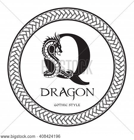Dragon Silhouette Inside Capital Letter Q. Elegant Gothic Dragon Logo With Tattoo Element. Heraldic