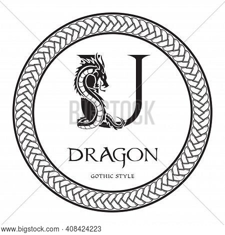 Dragon Silhouette Inside Capital Letter U. Elegant Gothic Dragon Logo With Tattoo Element. Heraldic