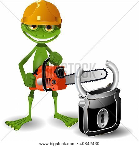 Green frog in a helmet with a chainsaw and padlock poster