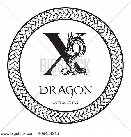 Dragon Silhouette Inside Capital Letter X. Elegant Gothic Dragon Logo With Tattoo Element. Heraldic