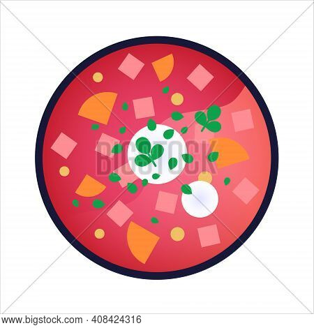 Borscht - Slavic Beet Soup With Sour Cream. Isolated Vector Illustration On White Background. Tradit