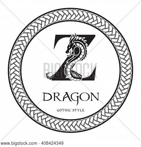 Dragon Silhouette Inside Capital Letter Z. Elegant Gothic Dragon Logo With Tattoo Element. Heraldic