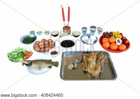 Boiled Duck With Fried Bass Fish And Food For Offering Ancestor In Chinese New Year Or Other Festiva