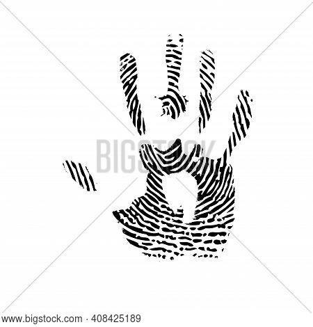 Black Outline Fingerprint Lines In Hand Silhouette Isolated On White Background
