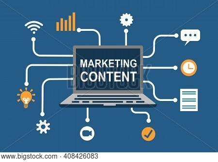 Marketing Content Seo Optimization Concept. Online Advertising Promotion Content. Laptop Computer Wi