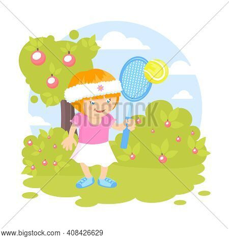 Girl Kid With Sport Racquet Playing Tennis On The Lawn Outdoors Background Vector Illustration