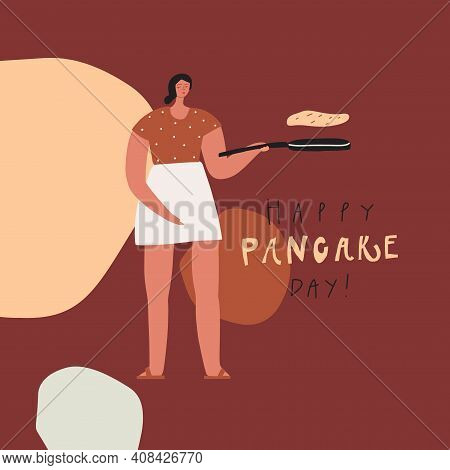Stylized Woman With Frying Pan And Pancake. Happy Pancake Day. Vector Template