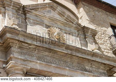 Solsona - Lleida, Spain - Jul 8, 2020: Detail Of The Portal Del Pont, The Bridge Gateway Is The Main