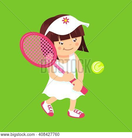 Girl Kid With Sport Tennis Racquet And Ball Isolated On Green Background Vector Illustration.
