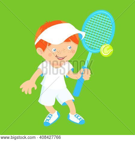 Boy Kid With Sport Badminton Racquet And Shuttlecock Isolated On Green Background Vector Illustratio