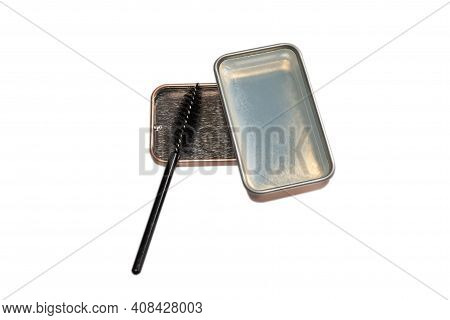 Brow Wax With Brush Isolated On White Background. Top View.