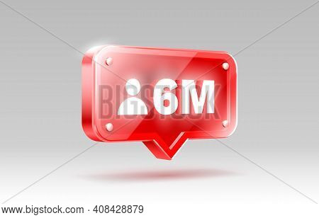 Thank You Followers Peoples, 6 Million Online Social Group, Happy Banner Celebrate, Vector