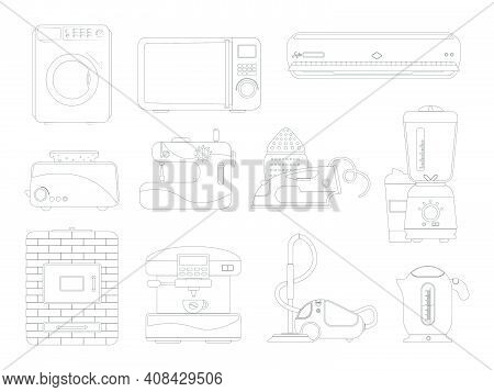 Contour Set With Electrical Appliances And Appliances For The Kitchen And Bathroom. Cleaning And Coo