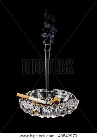 Smoking Cigarette In Ashtray