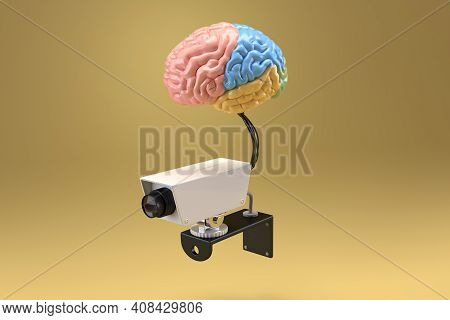 Brain Connected To Cam Recorder Placed In Isolation, 3d Render