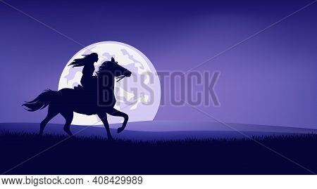 Native American Woman Riding Horse In Praitie Against Full Moon - Legend Wild West Scene Silhouette
