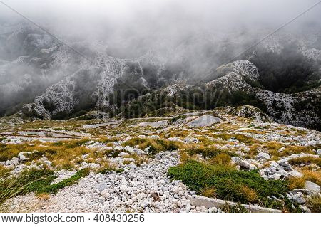 Mountain Landscape With Low Clouds In Biokovo, Croatia