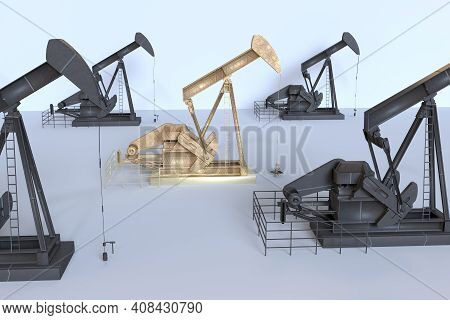 Oil Machinery Front View In White Background ,3d Render