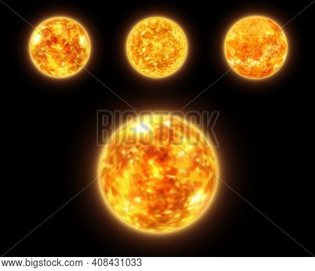 Realistic Sun Globe In Space, 3d Vector Star Of Solar System Surface With Fire Storms, Protuberances