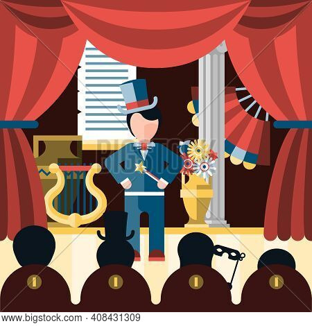 Theatre Acting And Theatrical Play Concept With Actor And Spectators Vector Illustration