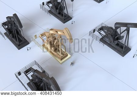 Oil Machinery Isometric View Placed In The Floor,3d Render