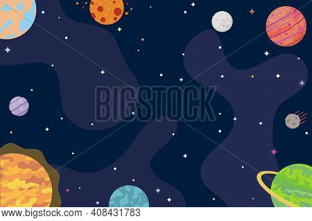 Space Background. Abstract Planets, Universe, Cosmos, Interstellar Travels. Vector Illustration