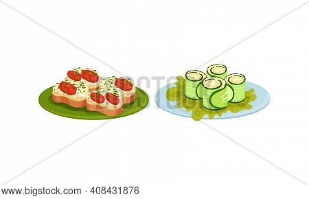 Finger Foods With Canape And Wrapped In Cucumber Slice Savory Filling As Small Portion Of Food Vecto