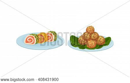 Finger Foods With Savory Mini Roll And Meat Balls As Small Portion Of Food Vector Set