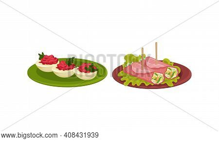Finger Foods With Stuffed Eggs And Creamy Stuffing Wrapped In Ham Slice As Small Portion Of Food Vec