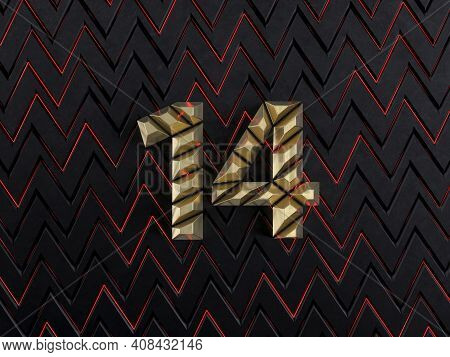 Number Fourteen (number 14) Made From Gold Bars On Dark Background With Cuts And Glow Of Red Neon Li