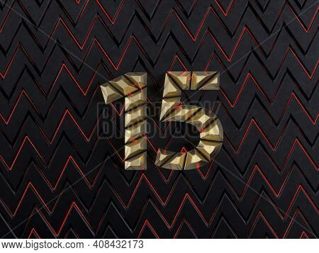 Number Fifteen (number 15) Made From Gold Bars On Dark Background With Cuts And Glow Of Red Neon Lin