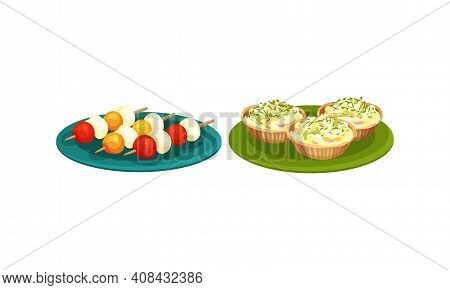 Finger Foods With Stuffed Tartlet And Canape On Skewer As Small Portion Of Food Vector Set