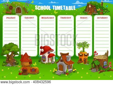 School Timetable Vector Schedule Template With Cartoon Dwarf, Gnome And Fairy Houses And Fantasy Bui