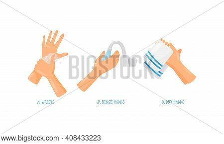 Human Hand Washing And Cleansing Skin Using Soap And Drying With Towel Vector Set
