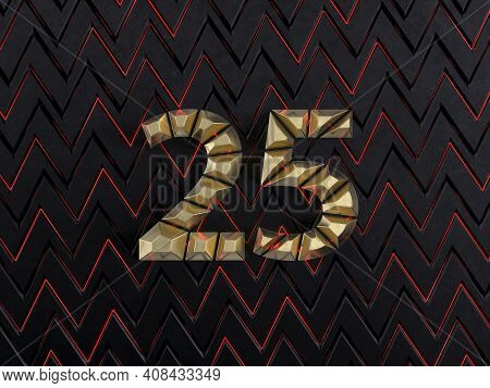 Number Twenty-five (number 25) Made From Gold Bars On Dark Background With Cuts And Glow Of Red Neon